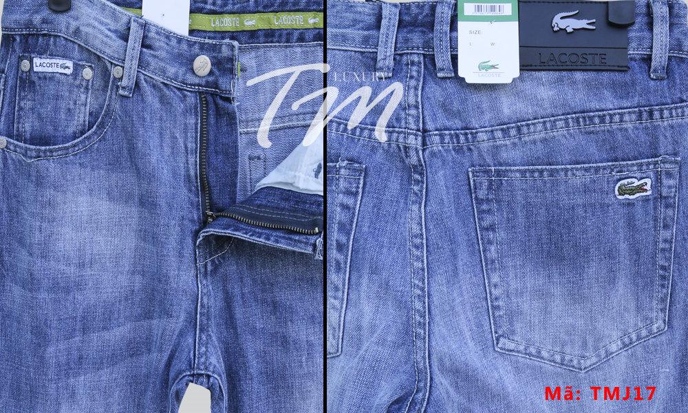 Chi tiết chụp gần quần jean nam ống đứng Lacoste TMJ17