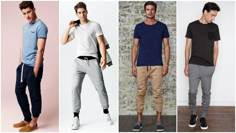 Quần jogger nam mặc với áo phông