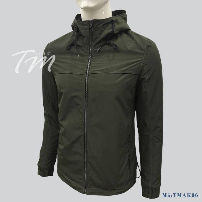 Áo khoác gió nam màu xanh rêu TMK06
