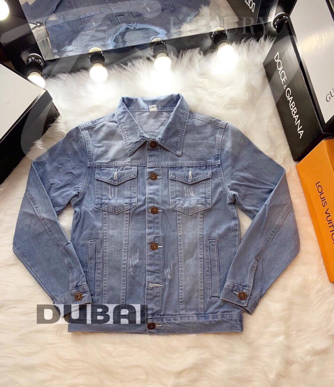 Áo khoác jean nam cao cấp xanh hiệu