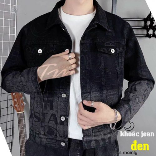 Áo khoác jean nam đen phong cách