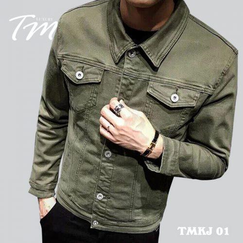 Áo khoác jean nam Hàn Quốc TMKJ01 màu xanh rêu