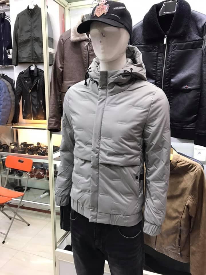 Áo phao nam lông vũ mùa đông TMAK07 ghi xám