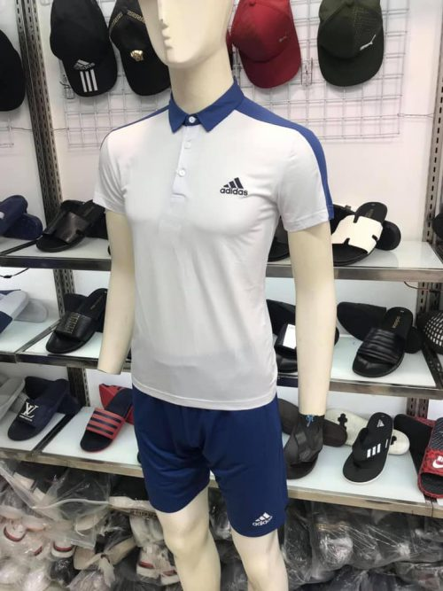 Áo thun polo Adidas có cổ màu xanh trắng