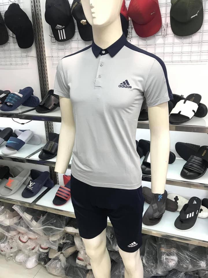 Áo thun polo Adidas có cổ màu ghi xám