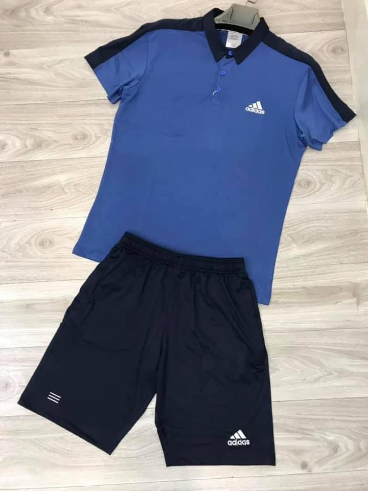 Áo thun polo Adidas có cổ màu xanh