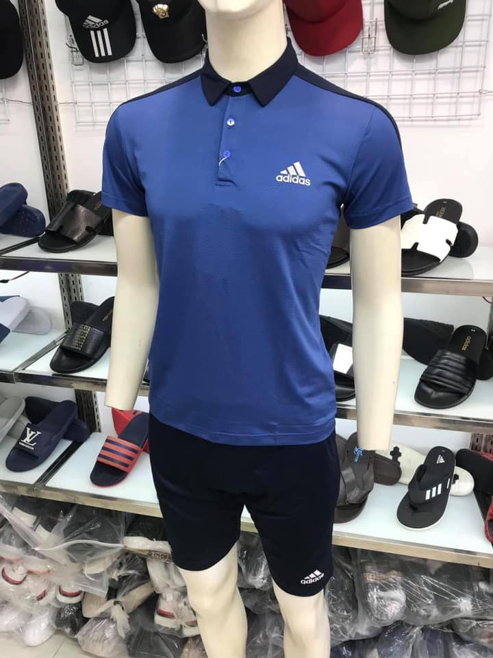 Áo thun polo Adidas có cổ màu xanh Navy