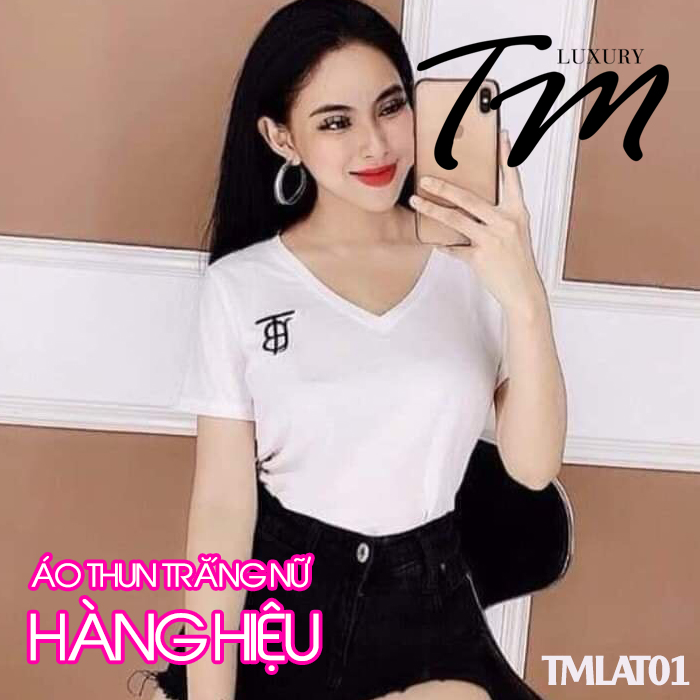 Áo thun trắng nữ hàng hiệu TMLAT01