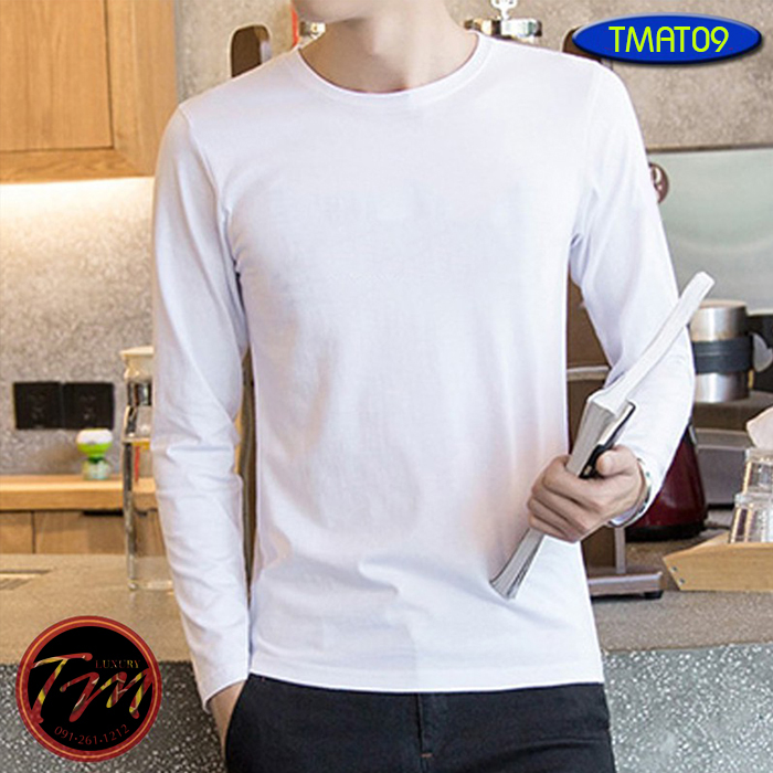 Áo thun trắng trơn nam tay dài TMAT09