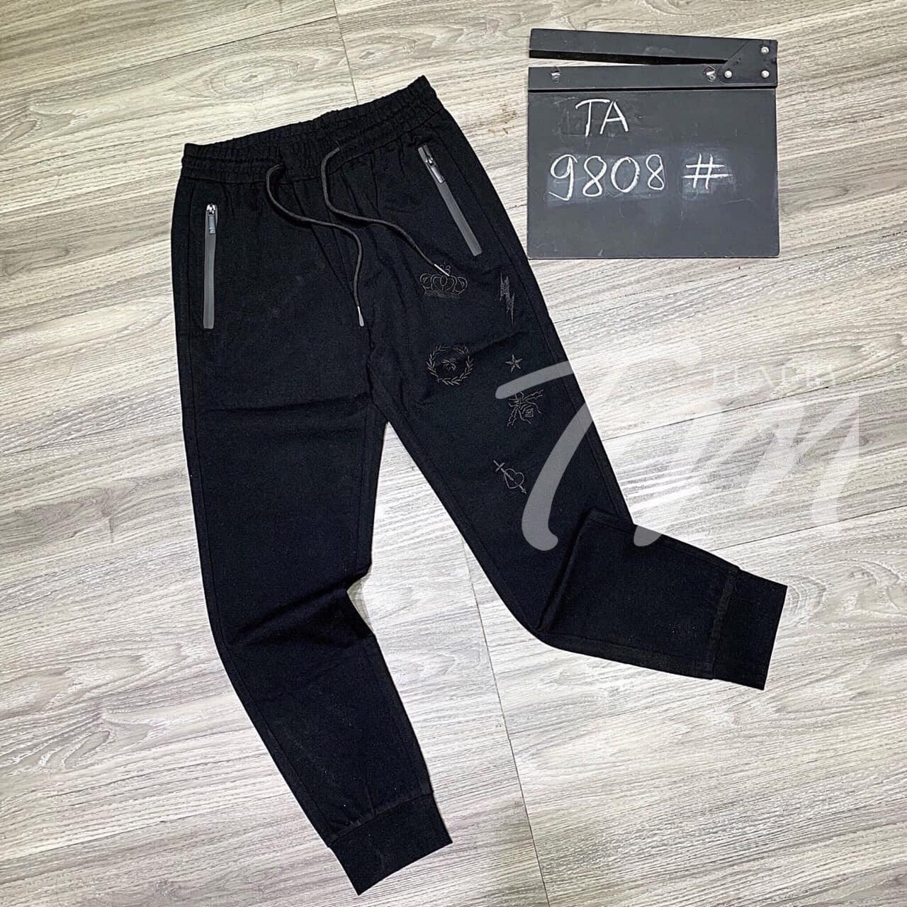 Dây rút & họa tiết đẹp của quần jogger đen nam