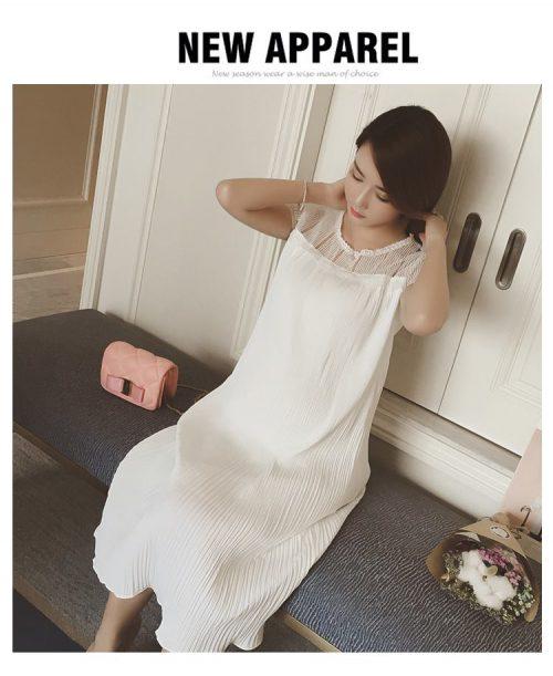 Đầm bầu maxi dự tiệc trắng thanh lịch