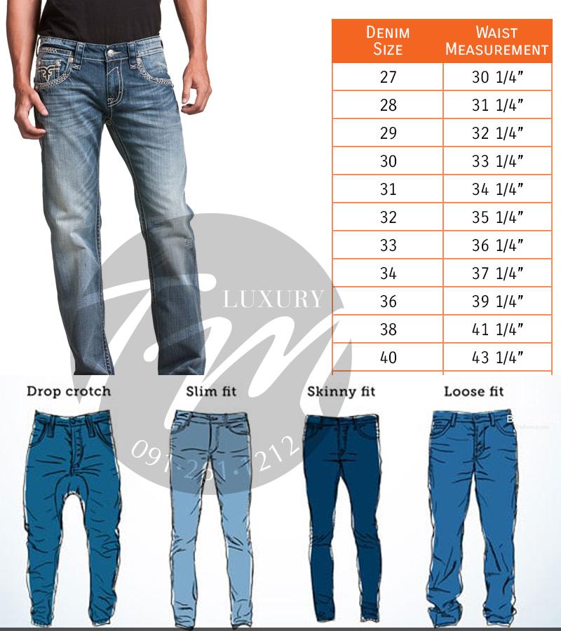 Phân loại Size quần jeans nam