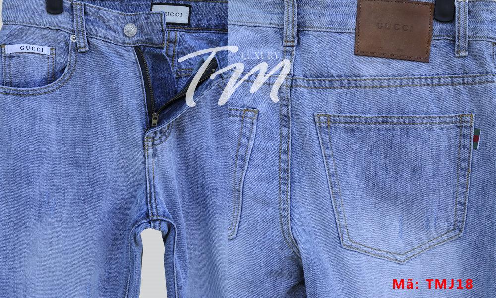 Chi tiết chụp gần quần bò nam đẹp Gucci TMJ21 của shop