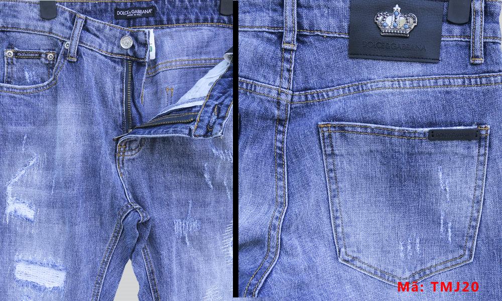 Chi tiết quần bò rách nam TMJ20 Jean hiệu D&G Dolce & Gabbana