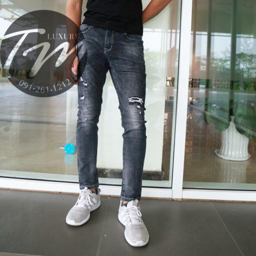 Quần jean đen rách gối nam TMJ28