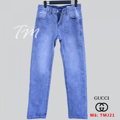 Quần jean nam hiệu Gucci xanh mài