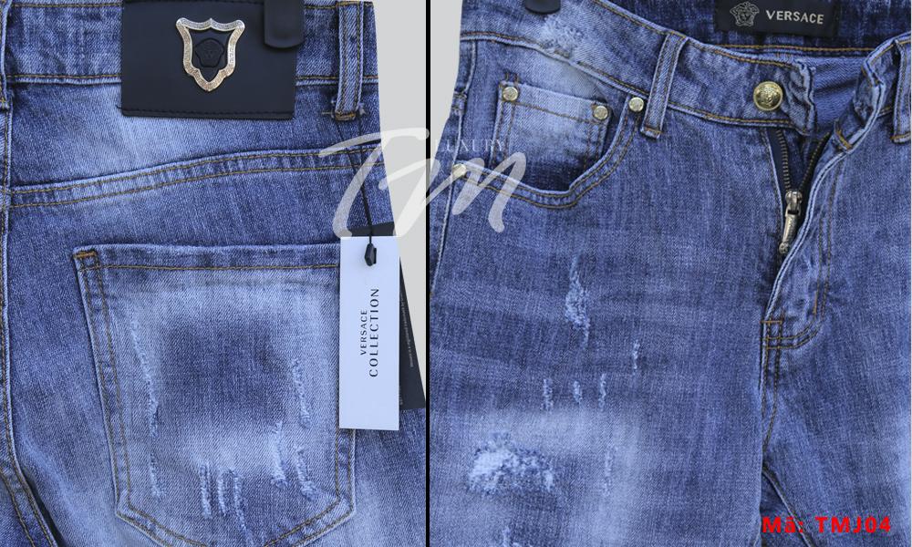 Chi tiết quần jean nam rách giá rẻ TMJ04 Thương Hiệu Versace