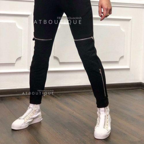 Quần jogger khóa zip chân đẹp